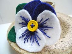 Royal Blue and White Pansy Pin is a bright and colorful handmade gift for Mom…