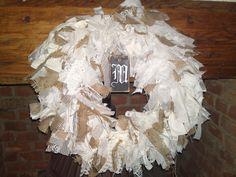 fabric wreath with monogram Fabric Wreath, Burlap Wreath, Wooden Signs, Hanukkah, Monogram, Wreaths, Home Decor, Wooden Plaques, Decoration Home