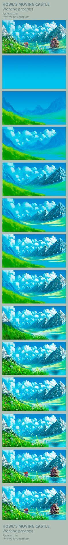 Howls Moving Castle - Process by Syntetyc.deviantart.com on @deviantART