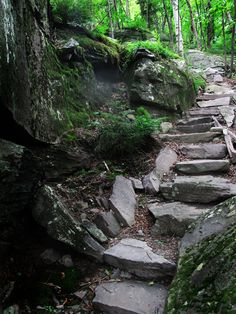 Stone steps wind up the side of Cross Mountain in the #Catskills near…
