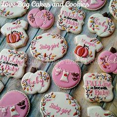 Autumn Baby Shower! Favors to match the invitation! #autumn #fall #babyshower #favors #pumpkin #pink #pumpkin #onesies #lovebugcookies #cookies #decoratedcookies #gifts #loudouncounty #leesburg #ashburn #southriding #art #cookieart