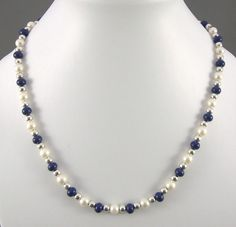 Blue & ivory pearl silver necklace