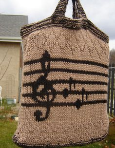 Should we try to make this for your violin teacher? Music Tote Bag - Knitting Patterns and Crochet Patterns from KnitPicks.com