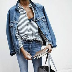 #jeanshose #streifenbluse #jeansjacke