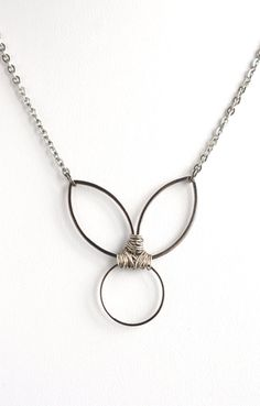 Bunny necklace, gunmetal necklace, wire wrap necklace, unique necklace, statement jewelry, gunmetal rabbit, stainless steel, womens jewelry