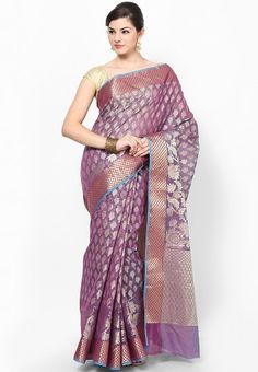 Cotton Silk Fancy Banarasi Magenta Zari Contrast Work Purple Saree Online Shopping - Bunkar | BU651WA29NHMINDFAS