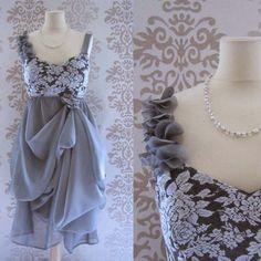 *Etsy*  ELENORE Silver Grey Floral Lace Ruffles Bow Romantic Sculptural Short Dress Custom Size. $189.00, via Etsy.