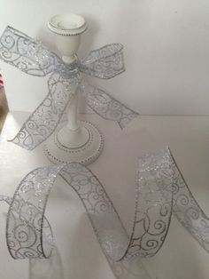 Silver Glittery Swirls on Sheer Organza Wedding - Luxury Wire Edge Edged Ribbon