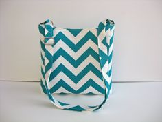 Turquoise and White Chevron Cross Body Purse / Tote / Bag
