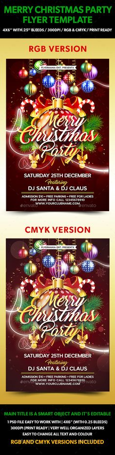 """Merry Christmas Party Flyer Template is very modern psd flyer that will give the perfect promotion for your upcoming event or club parties! 1 PSD file 4×6"""" size with 0.25"""" bleeds Simple and easy to work with, RGB & CMYK versions included, 300dpi and Ready to print, Very well organised and layers named appropriately Easy photo, colour and text replacement."""