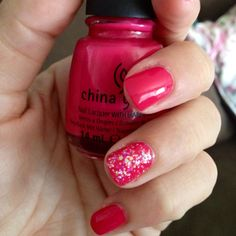 (China Glaze wicked style and snow globe) I paint my ring finger nail a different colour too! #nailcolour