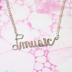 Music Necklace Silver Wire Wrapped Musical Note by Exaltation, $18.00
