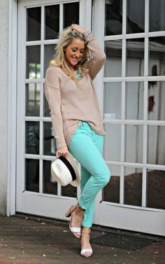 How to Wear Mint Jeans: 30 Different Ideas - Fashion 2015 Mint Green Jeans, Mint Skinny Jeans, Mint Pants, Mint Skirt, Mint Jeans Outfit, Green Pants Outfit, Beige Outfit, Modest Outfits, Modest Fashion