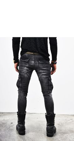 Bottoms :: Jeans :: Washed Black Skinny Multi Cargo-Jeans 111 - Mens Fashion Clothing For An Attractive Guy Look