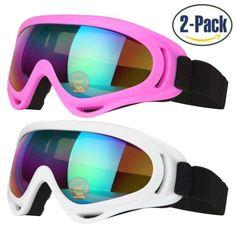 9ced7c5d00 Ski Goggles 2 Pack Skate Snowboard Glasses UV 400 Protection Non-Slip  Design