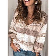 [£ Color Block Cable-knit Chunky knit V-Neck Sweaters - VeryVoga Loose Knit Sweaters, Casual Sweaters, Pullover Sweaters, Striped Sweaters, V Neck Sweaters, Casual Tops, Sweaters For Women, Knit Vest Pattern, Sleeve Pattern