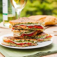 A delicious Turkey, Pesto and Roasted Red Pepper Panini. Not in the mood to make dinner? Make this instead!