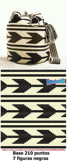 Elements of The Perfect - Arrow Mochila pattern - Filet Crochet, Diy Crochet, Crochet Crafts, Crochet Stitches, Crochet Projects, Tapestry Crochet Patterns, Bead Loom Patterns, Crochet Designs, Knitting Designs