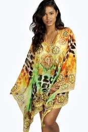 buymadesimple.com: Embellished Beach Printed Kaftan - orange