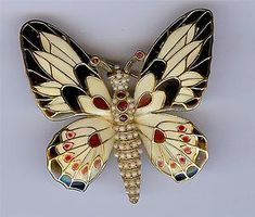 Ciner Butterfly Signed Vintage Enamel Rhinestone Designer Figural Brooch Pin