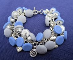 Blue and Silver Dangly Button Bracelet Small by RockCandyCrafts, $12.50