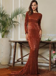 845a85fbd8 Rust Dark Brown Sequined Embellished Holiday Party Prom Formal Evening Long  Maxi Mermaid Full Sleeves Dress