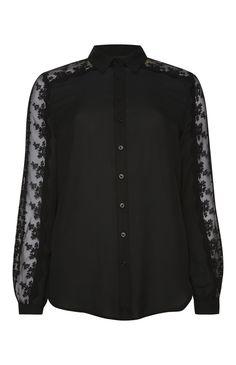 Primark - Zwarte blouse met gehaakte mouwen