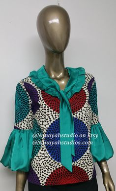 CHYFWAX Collection. African Print Chiffon Top. Bell Sleeves. African Print Dresses, African Print Fashion, African Fashion Dresses, Tribal Fashion, African Dress, Cute Fashion, Fashion Prints, Fashion Design, African Prints