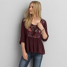 AEO Embroidered Peasant Top ($40) ❤ liked on Polyvore featuring tops, maroon, pleated top, embroidery tops, embroidered top, gauze peasant top and a line tops