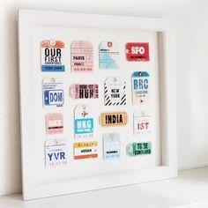 Framing travel memorabilia. Love this idea!