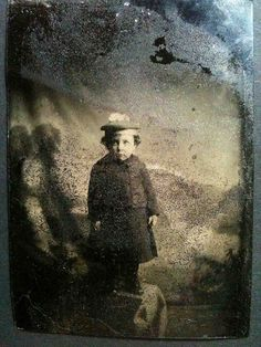 little girl in damaged tintype