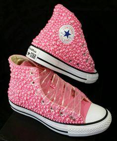 6dd6c9b25e51 Bridal Converse- Wedding Converse- Bling   Pearls Custom Converse Sneakers-  Personalized Chuck Taylors. Etsy