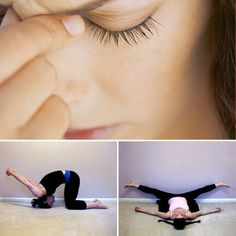 Yoga Poses For Headaches - just did a few of these and they were awesome :)  especially the neck one - I let all stresses ride on my neck and shoulders