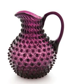 design cocktail: kitchen pitchers: LoVe the purple hobnail! Purple Love, All Things Purple, Purple Glass, Purple Rain, Shades Of Purple, Magenta, Fenton Glassware, Vintage Glassware, Cristal Art