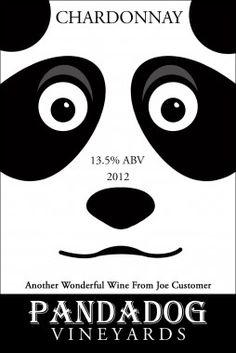 Is he a panda? Is he a dog? You tell us what you see on this custom wine label.
