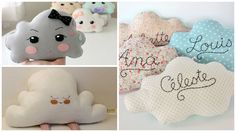 TUTO to Create a cloud cushion yourself! Cloud Cushion, Cloud Pillow, Fur Pillow, Cloud Pattern, Baby Deco, Couture Sewing, Cushions, Pillows, Decoration