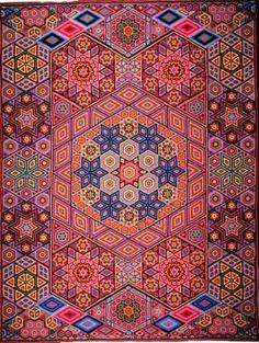 """Albert Small, Second Quilt, 1939 - 116"""" x 87"""", 63,460 hexagons each 3/8"""" across"""