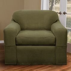 Charlton Home Blissfield Stretch Two Piece Armchair Slipcover Upholstery: Dark Sage