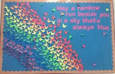 under great things come from small things quote Butterfly rainbow bulletin board that I made for my daughter's teacher. Butterfly Bulletin Board, Rainbow Bulletin Boards, Kindergarten Bulletin Boards, Spring Bulletin Boards, Bulletin Board Display, Classroom Bulletin Boards, Display Boards, Display Ideas, School Displays
