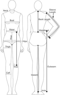 Sewing Tips For Beginners Printable Body Measurement Chart - Female - Shows Where to Take Measurements. Free Printable Female Body Measurement Chart for Beginners. Get Your Copy Now! Sewing Basics, Sewing Hacks, Sewing Tutorials, Sewing Tips, Dress Sewing Patterns, Clothing Patterns, Shirt Patterns, Clothing Size Chart, Pattern Cutting