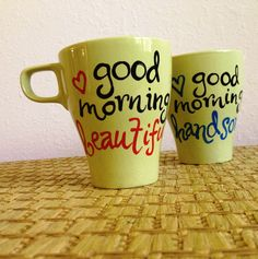 GoodMorning Coffee Mugs - Hand Painted and (Ready To Ship). $30.00, via Etsy.