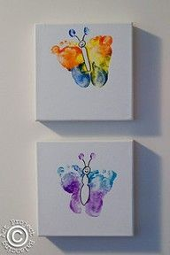 Good idea for Mother's Day, butterfly baby feet on canvas..