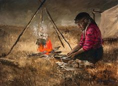 Cooking Potatoes, another wonderful scene of early life in Saskatchewan, by Cree artist Allen Sapp. Order Of Canada, Native American Artists, Canadian Art, American Traditional, Aboriginal Art, Western Art, Pictures To Draw, First Nations, Plum