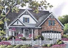 change the siding to that natucket shakes, brick to a beautiful stone and under the front porch stucco. eliminate the victorian embellishments and ad stone columns and I think I may have a really pretty lake home.