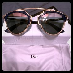Auth Dior rose gold and blue sunglasses NWT NWT and original case and dust bag for blue and rose gold Dior sunglasses; New with no scratches.beautiful dark lenses and hardware Dior Accessories Sunglasses Blue Sunglasses, Sunglasses Accessories, Fashion Accessories, Christian Dior Sunglasses, Dior Logo, Designer Totes, Current Fashion Trends, Dust Bag, Lenses