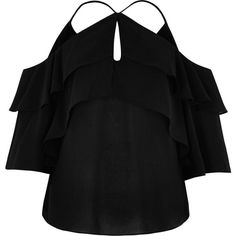 River Island Black frill cold shoulder blouse ($60) ❤ liked on Polyvore featuring tops, blouses, bardot / cold shoulder tops, black, women, layered tops, ruffle blouse, cut out shoulder top, flounce blouse and cut out shoulder blouse