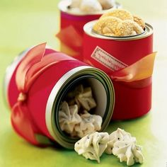 Tin Time. Heap cookies into inexpensive tins lined with tissue or parchment paper (retro tins with holiday scenes, galvanized tins, or red and silver tins)