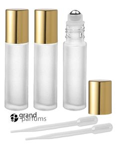 3 UPSCALE Clear 10 ml FROSTED Roller Bottles by GrandParfums