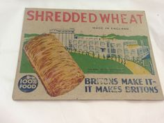 VINTAGE-BUILDING-SHREDDED-WHEAT-CEREAL-ADVERTISING-PRNTED-CARDS-1930S Shredded Wheat Cereal, Food Advertising, Vintage Packaging, 1930s, History, City, Building, Garden, How To Make