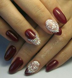 Such a manicure will suit any image and it can be made up for any occasion.Bordome manicure can be done on Fancy Nails, Red Nails, Cute Nails, Pretty Nails, Hair And Nails, Fabulous Nails, Perfect Nails, Gorgeous Nails, Beautiful Nail Designs